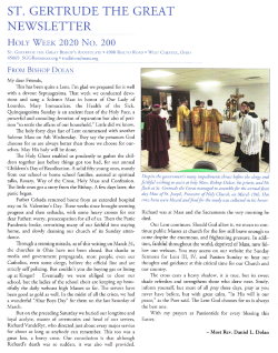 Holy Week Newsletter